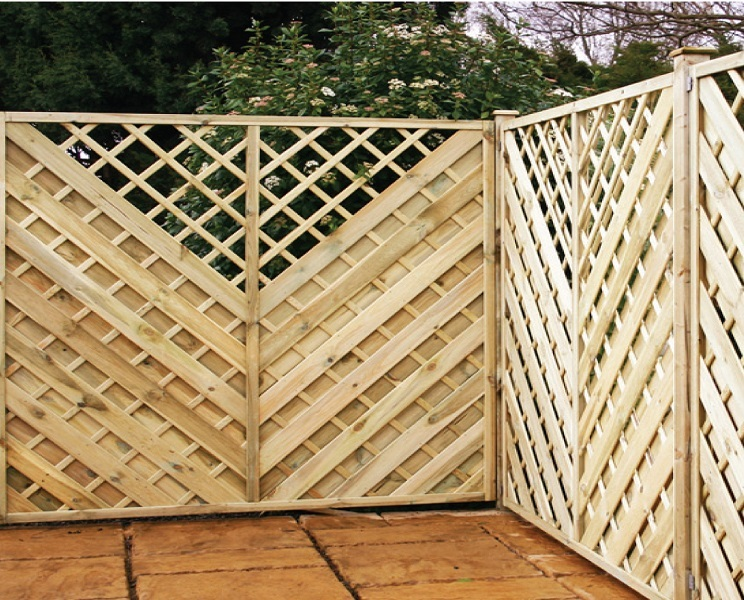 Chevron pressure treated wooden fence panels